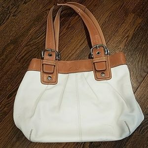 White & Tan Leather Coach Pocketbook